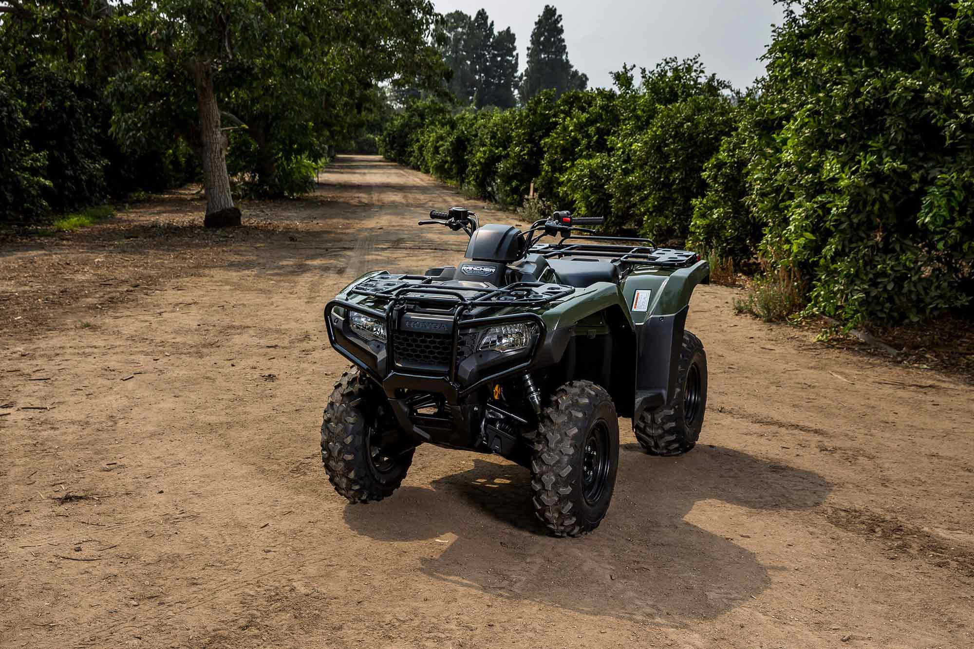 Coming in at 580 pounds wet, Honda's FourTrax Rancher is sprightly as compared to the 620 pounds or more competition.
