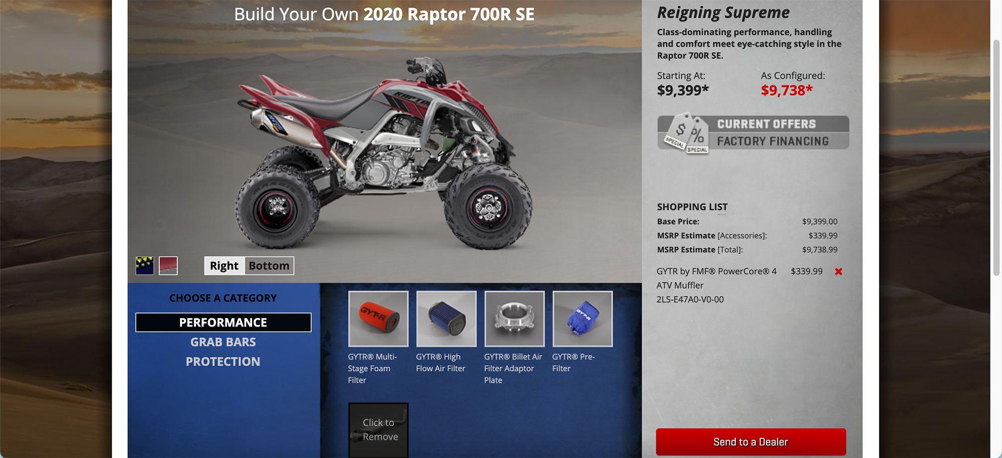 Yamaha's build and price tool.