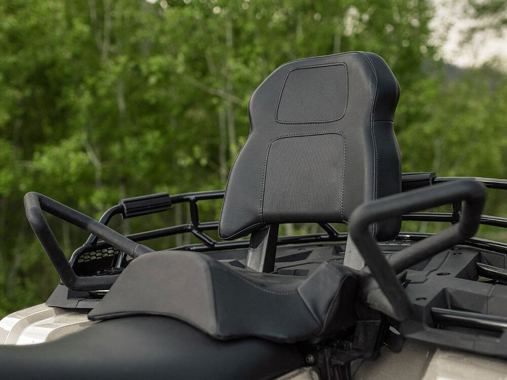 The passenger seat is elevated with a variety of grab handles and raised floorboards.
