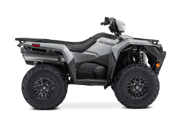 Suzuki KingQuad 500AXi Power Steering SE+ model in Metallic Matte Rocky Gray color with cast aluminum wheels.
