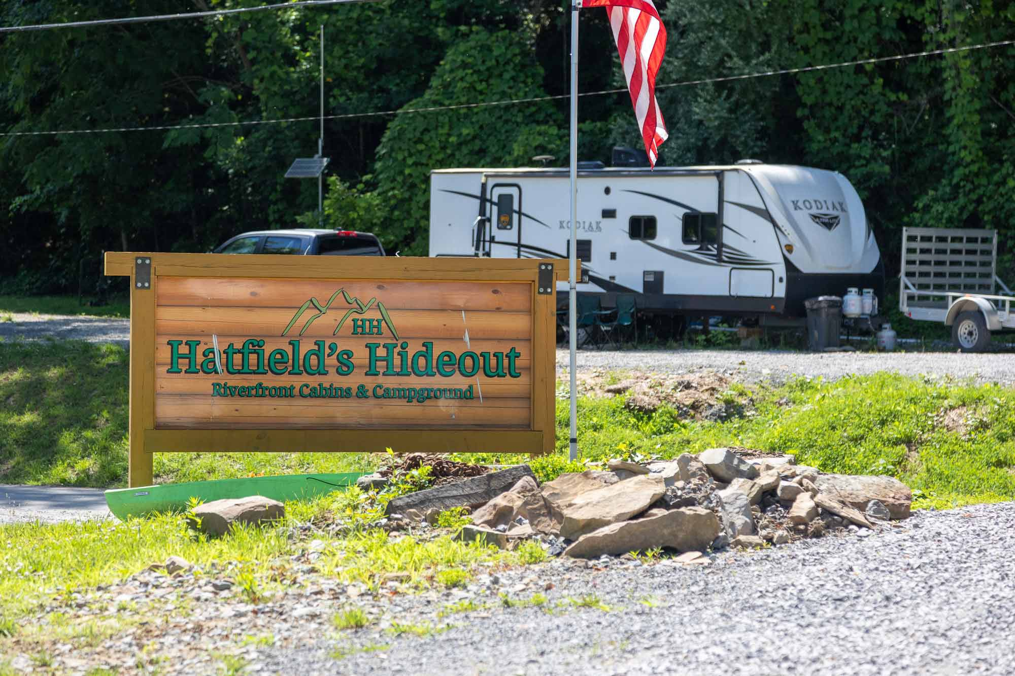 Hatfield's Hideout is located just outside of McCarr, Kentucky, along the banks of the Tug Fork River.