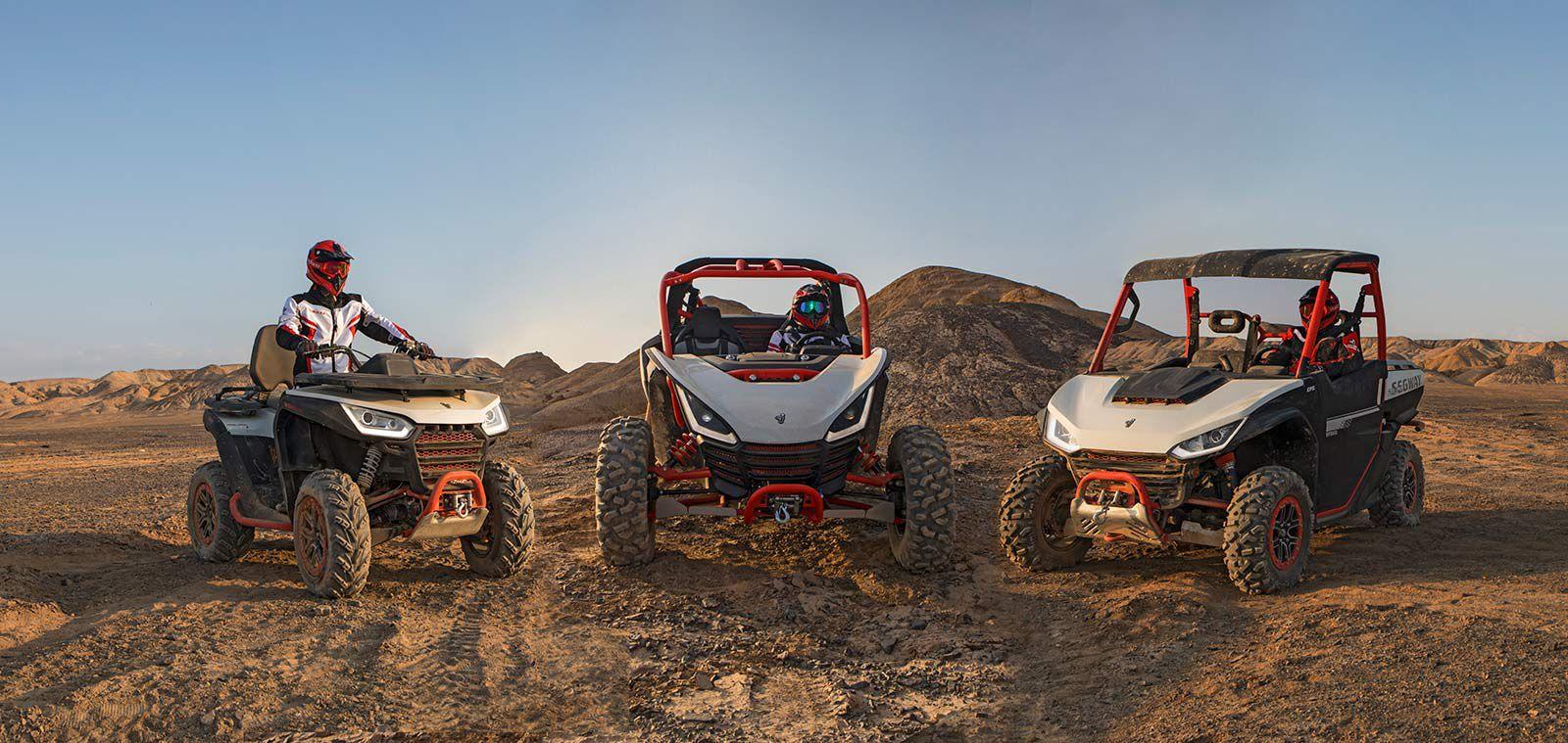 Segway's new Snarler ATV, Villain sport side-by-side, and Fugleman UTV.