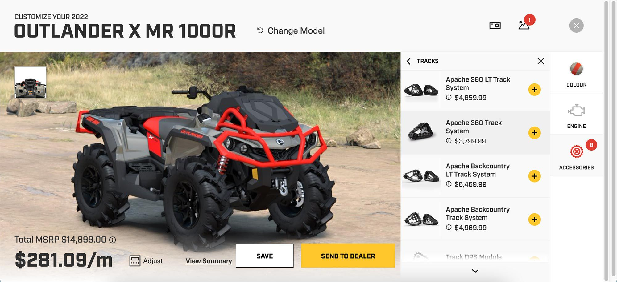 Can-Am's build and price tool.