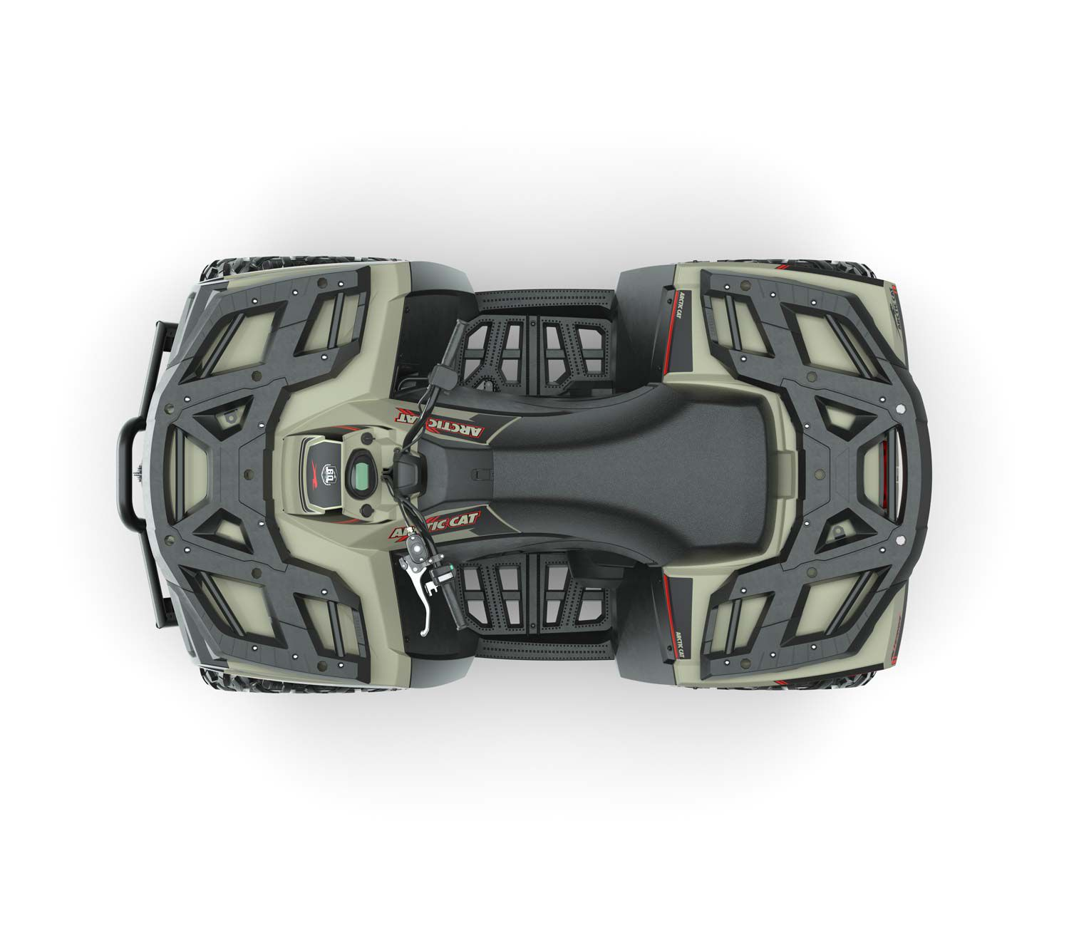 Rider comfort is an Arctic Cat priority with wide floorboards and a seat that's narrow between the knees.