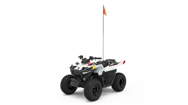 The 2022 Polaris Outlaw 70 in Bright White/Red.